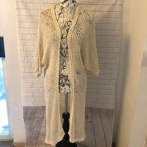 Brandy Melville crochet duster cardigan long cream